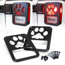 "Xprite Tail Light Cover Guard"" Dog Paw"" for 2007-2018 Jeep Wrangler JK Unlimited Taillights- Pair"