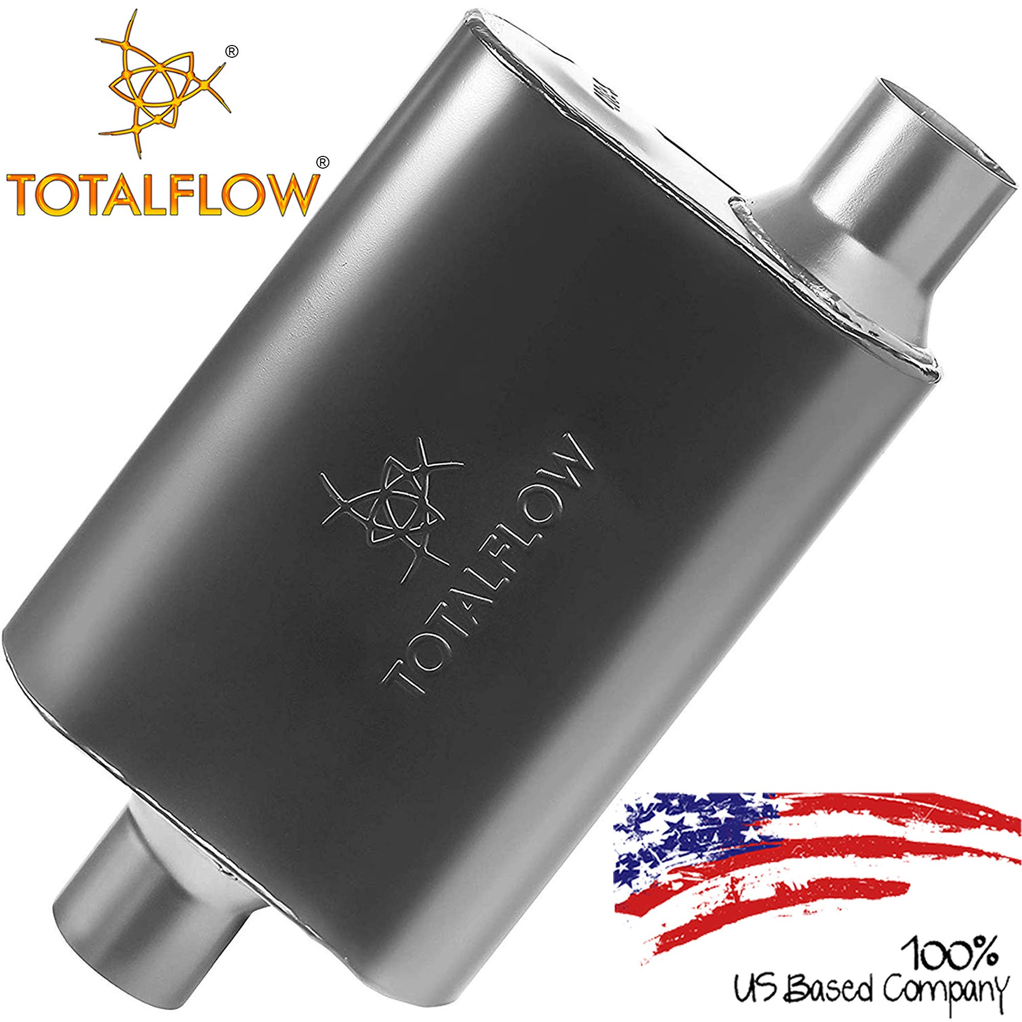 """TOTALFLOW 415442 Two-Chamber Universal Muffler - 2.25"""" Center In / 2.25"""" Offset Out"""