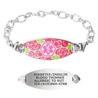 Divoti Custom Engraved Medical Alert Bracelets for Women, Stainless Steel Medical Bracelet, Medical ID Bracelet w/Free Engraving – Gorgeous Red Rose Tag w/Ridged – Color/Size
