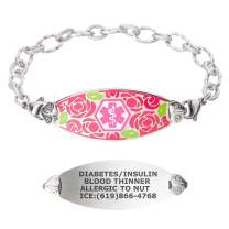 Divoti Custom Engraved Medical Alert Bracelets for Women, Stainless Steel Medical Bracelet, Medical ID Bracelet w/Free Engraving – Gorgeous Red Rose Tag w/Ridged – Color/Size