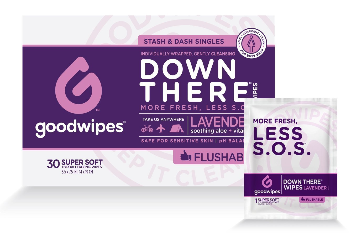 Goodwipes Down There Feminine Flushable Wet Wipes for Women, Lavender Scent Individually Wrapped  Wipes, 30 Count