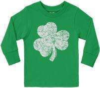 Threadrock Little Boys' Distressed Shamrock Toddler Long Sleeve T-Shirt