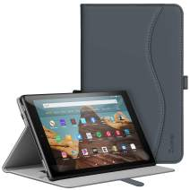 ZtotopCase for All-New Fire HD 10 Tablet Case (2019/2017,9th/7th Gen) - Ultra Thin PU Leather Multi Angle Folding Case with Auto Wake/Sleep Function - Dark Grey