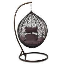 Island Gale Hanging Basket Chair Outdoor Front Porch Furniture with Stand and Cushion (Brown Wicker, Brown Cushion)