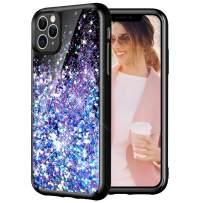 Caka Case for iPhone 11 Pro Max Glitter Case Starry Night Liquid Bling Sparkle Cute Luxury Fashion Flowing Glitter Soft TPU Black Women Girls Phone Case for iPhone 11 Pro Max (6.5 inch)(Blue Purple)
