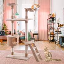"""Tangkula Multi-Level Cat Tree Condo with Sisal-Covered Scratching Posts, Soft Plush, Hammock and Condo, Indoor Cat Tower Furniture House, for Kittens, Cats and Pets (60"""")"""