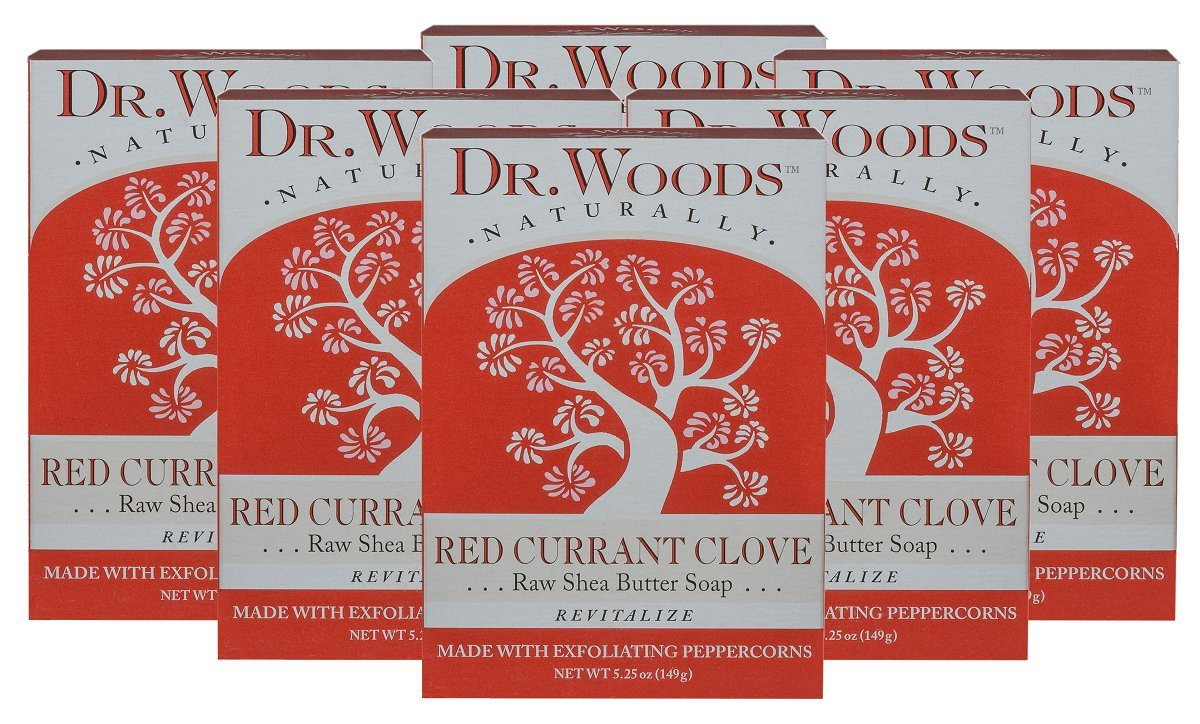Dr. Woods Red Currant Clove Bar Soap with Peppercorn & Organic Shea Butter, 5.25 Ounce (Pack of 6)