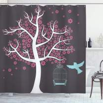 """Ambesonne Tree Shower Curtain, Tree with Seafoam Bird Cage and a Bird Flowers for Leaves Nature Freedom, Cloth Fabric Bathroom Decor Set with Hooks, 70"""" Long, Pale Grey"""