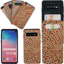 COPI Cork Vegetable Genuine Leather Cell Phone Case Card Slot Holder Sliding Cover for Galaxy S10 Case Dark Color Block
