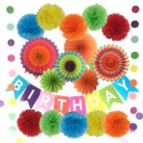 Happy Birthday Decorations, Banner with Tissue Pom Poms Paper Flowers, Paper Fans and Garlands String Polka Dot - 10 Pcs Pom Poms and 6 Pcs Paper Fans