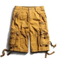 OCHENTA Men's Cotton Loose Fit Multi Pocket Cargo Shorts