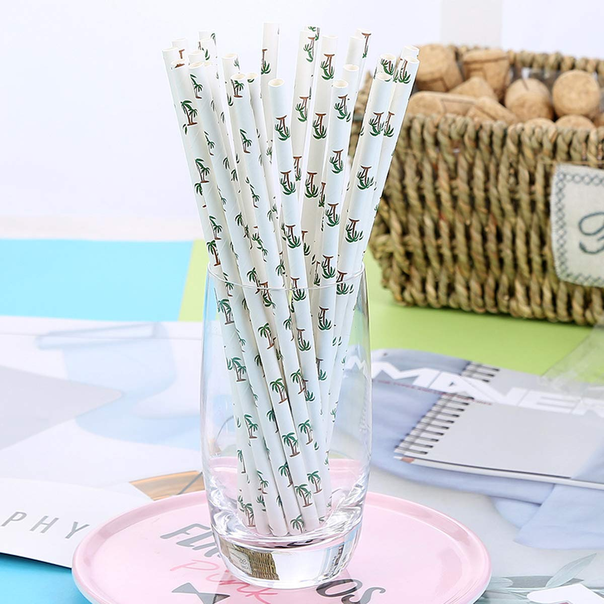 100-Pack Biodegradable Paper Drinking Straws for Graduation Party Supplies Bridal/Baby Shower Wedding Decorations, Bulk Paper Straws for Juices, Shakes, Smoothies, Coconut Palm Theme