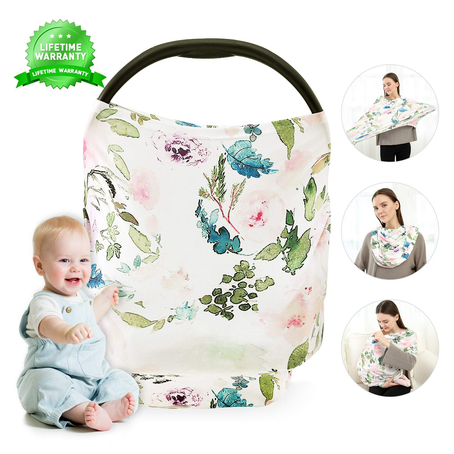 Nursing Cover, Breastfeeding Cover, Carseat Canopy, Car Seat Covers for Babies Stretchy Premium Soft Cover with Multi-Use for Stroller, Scarf, Shopping Cart, Baby Shower Gifts for Boys&Girls (Flower)