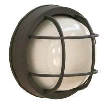 """CORAMDEO Outdoor 10"""" Round LED Bulkhead Light, Flush Mount for Wall or Ceiling, Wet Location, 125W (1250 lumens) of Light from 13W of Power, 3K, Black Cast Aluminum with Frosted Glass Lens"""