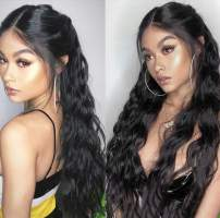 360 Lace Frontal Wig Pre Plucked with Baby Hair and High Ponytail Deep Body Wave Brazilian Remy Human Hair Wigs for Women 150% Density 10inch NC