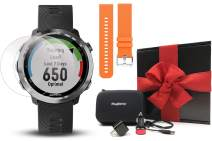 Garmin Forerunner 645 Gift Box Bundle | with Extra Band, HD Screen Protector Film, Car/Wall Adapters & Protective Case | Running GPS Watch, Garmin Pay (Stainless, Orange)