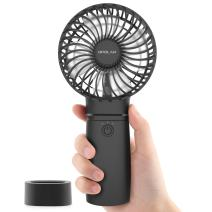Battery Operated Portable Handheld Fan, 5200mAh Small Rechargeable Personal USB Fan for Travel Camping Outdoor Cooling, 18 Hours Battery Life, 3 Speeds, Quick Charge Feature