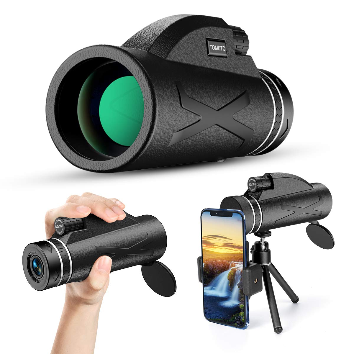 Monocular Telescope, 80x100 High Power Prism Monocular HD Dual Focus Scope Portable Waterproof Fogproof with Smartphone Holder & Tripod for Bird Watching Hunting Camping Travelling Wildlife Secenery