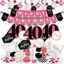 Big Dot of Happiness Chic 40th Birthday - Pink, Black and Gold - Birthday Party Supplies - Banner Decoration Kit - Fundle Bundle