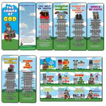 Armor of God Bookmarks (36-Pack) and 36 Stickers (3-Sheet) for Kids - Stocking Stuffers for Boys Girls - Children Ministry Bible Study Church Supplies Teacher Classroom Incentives Gift
