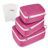 Gonex Compression Packing Cubes Set, Double Sided, Travel Suitcase Luggage Organizer 3pcs+ 4 Zip Bags Purple
