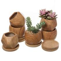 T4U 2.5 Inch Succulent Garden Pot with Bamboo Tray, Small Ceramic Wooden Pattern Windowsill Plant Pot Cactus Herb Planter for Home and Office Decoration Birthday Wedding Christmas Gift Pack of 6