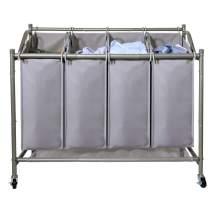 Ollieroo Laundry Sorter Cart 4 Bag with 4 Rolling Wheels Heavy Duty Laundry Organizer Cart Steel FrameClothes Hamper Sorter, Grey