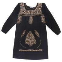 Mexican Clothing Co Womens Mexican Dress Long Sleeve Tehuacan Manta X-Small Black 6161