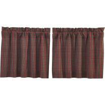 VHC Brands Primitive Rustic & Lodge Kitchen Window Curtains-Tartan Plaid Tier Pair, L24 x W36, Brick Red