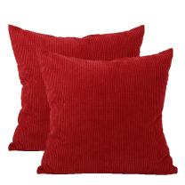 uxcell Super Soft Corn Corduroy Throw Pillow Covers Solid Decorative Pillowcase Cushion Cover for Sofa Couch Bed, 26 x 26 Inch, Red Set of 2