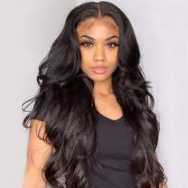 Transparent Lace Front Wigs Human Hair Body Wave T Part Lace Wig for Black Women Brazilian Body Wave Wig With Baby Hair Middle Part Lace Front Wigs Human Hair 150% Density (20 inch)