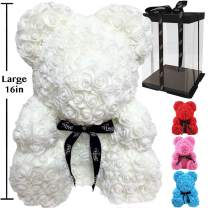Rose Flower Bear - Fully Assembled Hugz Teddy Bear - Over 20 Dozen Artificial Flowers - Gift for Mothers Day, Valentines Day, Anniversary & Bridal Showers - w/Clear Gift Box (White, Large 16 Inch)