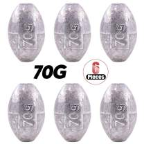 Hilitchi Assorted Sizes 10g 20g 30g 40g 50g 60g 70g 80g Egg Oval Shaped Fishing Weights Sinkers Bass Fishing Casting
