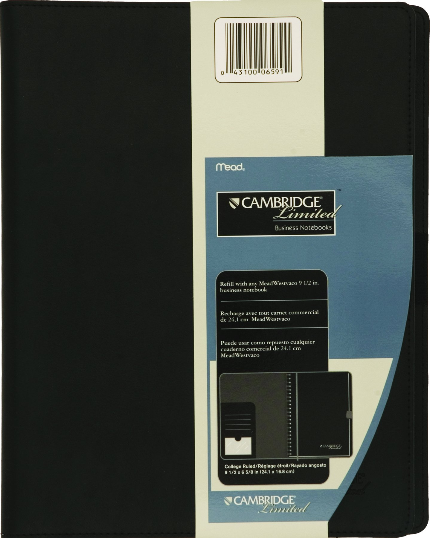 """Mead Business Notebook Cover, Portfolio, Padfolio, Refillable, Business Card / Pen Holder, 11"""" x 8-1/2"""", Black (06591)"""
