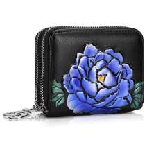Wallets for Women RFID Protector Credit Card Holder Case Double Zippers 12 Slots Cowhide Leather Embossed Flower Money Organizer Purse/Gift Box 7158PURPLE
