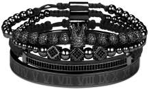 Haoze Imperial Crown King Gold Bracelet for Men Pave CZ Luxury Charm Beads Cuff Bangle Crown Birthday Jewelry