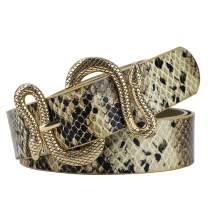 Belts for Women,Women Fashion Leather Belt for Dress with Snake Belt Buckle