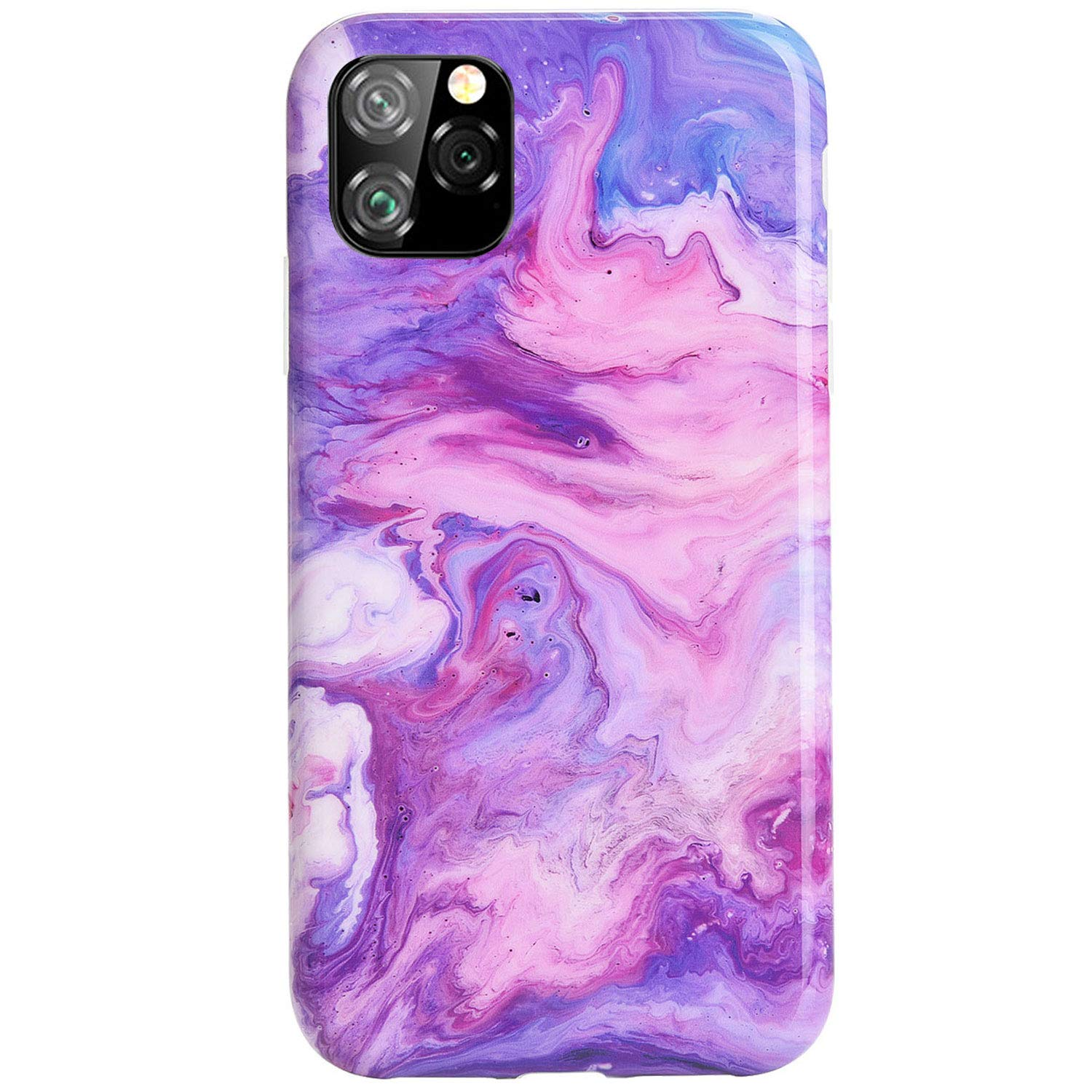 Reejax iPhone 11 Pro Max Case with Glass Screen Protector, Cute Magic Purple Marble for Girls Women Best Protective Slim Fit Clear Bumper Glossy TPU Soft Silicon Cover Phone Case for iPhone 11 Pro Max