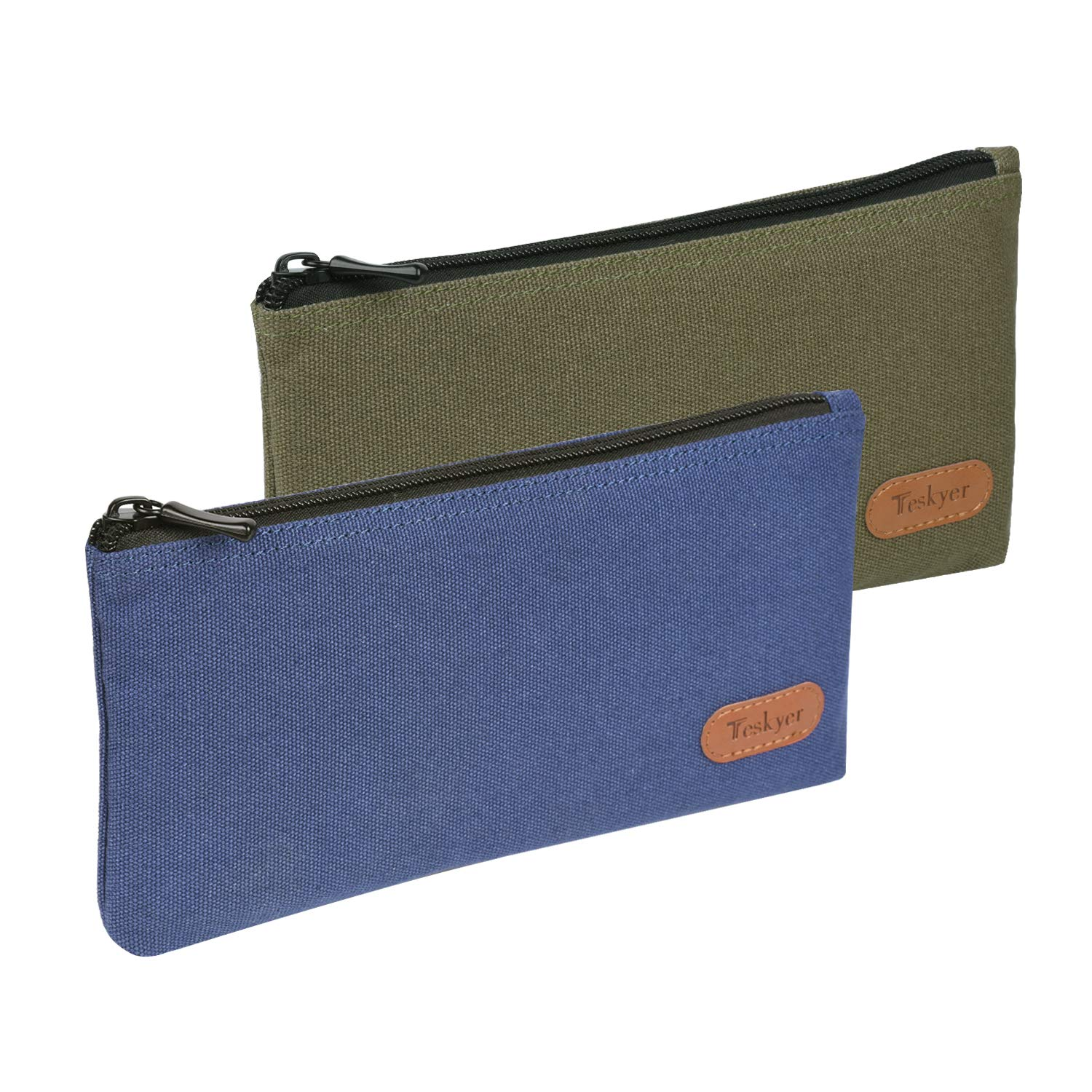 Teskyer Pencil Case/Pen case/Pencil Pouch for Students, Zipper Stationery Bag for Pens and Pencils, Women's Small Makeup Pouch, Utility Zipper Cash Coin Bag-2 Pack,Blue and Green