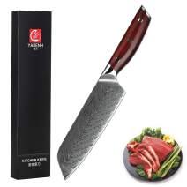 Yarenh Kitchen Knife Professional - Santoku Knife 7 inch - High Carbon Japanese Damascus Steel Blade & Dalbergia Wood Handle,Gift Box Packaging,Sharp Chef Knives - KTF Series