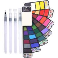MEEDEN Watercolor Paint Set, 42 Assorted Colors Foldable Paint Set with 4 Brushes, Travel Pocket Watercolor Kit for Students Adults Beginning Artist Watercolor Painters Field Sketch Outdoor Painting