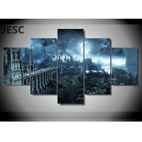 JESC Modern Frames for Painting 5 Panel Dark Souls Castle Modular Pictures Wall Art for Living Room Home Decor Canvas Prints (B, 30x40cmx2,30x60cmx2,30x80cmx1) …