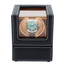 Single Watch Winder Luxury for All Automatic Mechanical Watch, with Quiet Motor Battery Powered or AC Adapter-12 Rotation Modes Watch Winder (Black)