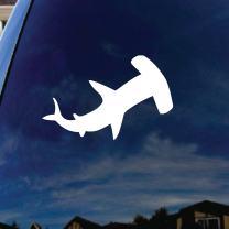 "SoCoolDesign Hammerhead Shark Car Window Vinyl Decal Sticker 4"" Wide (White)"