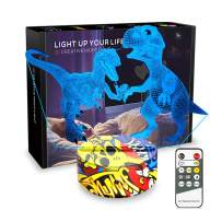Night Lights for Kids Dinosaur Lamp 3D Kids Night Light 7 Colors Change Dinosaur Toys with Remote Control Christmas Birthday Gifts for Girls Boys Kids Baby Lover (Indoraptor+Dino)