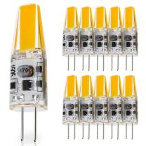 10-Pack G4 Base 2W LED Bulbs, 12V-24V AC / 10V-30V DC (RV, caravan, motorhomes, boats), 20W Glass Halogen Light Bulbs Replacement, Warm White 2800K, JC T3 Lamp, Under Cabinet, Landscape Lighting