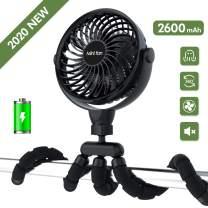 Baby Stroller Fan, Portable Personal Handheld Fan, Battery Powered Clip Fan, Baby Car Seat Fan, Desk Fan with Flexible Tripod, Ultra Quiet 4 Speed 360° Rotatable USB Fan for Stroller/Bike/Camping/BBQ/Gym