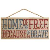 P. Graham Dunn Home of Free Because Brave Natural 10 x 4.5 Wood Wall Hanging Plaque Sign