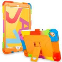 ACEGUARDER iPad 10.2 Case 2019 iPad 7th Generation Case iPad 10.5 Case 2017/2019, Heavy Duty Shockproof Soft Silicone Cover with Pencil Holder & Kickstand - Rainbow Orange