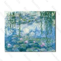 Baocicco 36x24 Inches Water Lily Pond Canvas Prints Wall Art of Claude Monet Canvas Wall Art Picture House Decoration Living Room Office Bathroom Oil Painting No Frame Rolled Package Wall Poster